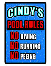 Personalized Swimming Pool Sign Printed with YOUR NAME Durable NO RUST Aluminum