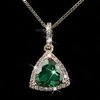 18k rose gold gf made with SWAROVSKI crystal heart pendant necklace