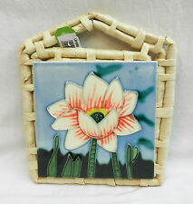 Stunning Tube Lined Tile Pot Stand with Straw Back - Decorative or Practical Use