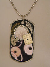 Steampunk Gear Cogs Angel Wing Watch Parts Collage Pendant Dog Tag Necklace D172