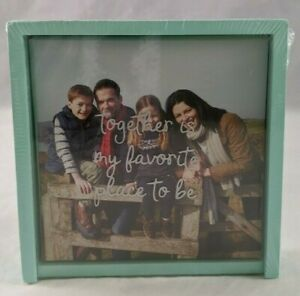 """Photo Frame Wood 4.5"""" Square 3D """"Together Is My Favorite Place To Be"""" Aqua New"""