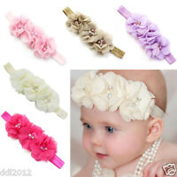 Newborn Toddler Baby Girl Elastic Headbands Chiffon Flower Headwear Photography