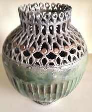 LARGE RAKU CARVED POTTERY HAND THROWN ART VASE Metallic Glaze By John G. Jensen