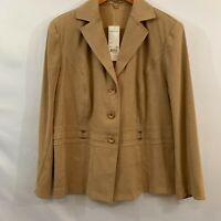Notations Womens Sand Brown Button Front Notch Lapel Suit Jacket Blazer Size 1X