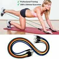 11 PCS Set Resistance Band  Yoga Pilates Abs Exercise Fitness Tube Workout Bands