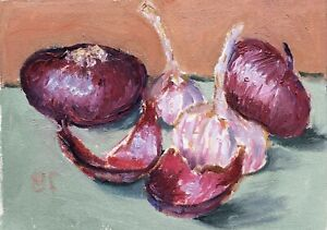 Still Life with Onion and Garlic original oil painting Impressionism