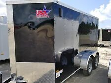 7x12 7 x 12 Enclosed Cargo Trailer Tandem Dual Axle Motorcycle Utility 14 V Nose