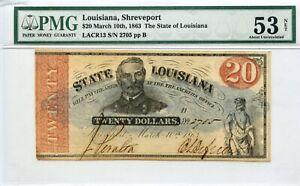 1863  $20    Shreveport,   State of  Louisiana    PMG 53 Net