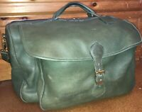 Roots Duffle Weekend Bag Large Army Green Distressed Leather Shoulder Strap