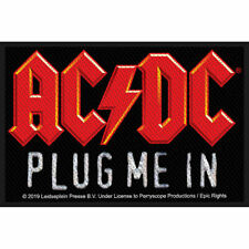 AC/DC Plug Me In Woven Sew On Patch Official Licensed Band Merch Angus Young