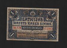 1 rublis ruble rubel 1919 Latvia blue ! Rare !