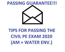 CIVIL PE EXAM Study Mat. & Tips:  WATER + ENVIRONMENTAL Depth - SALE!