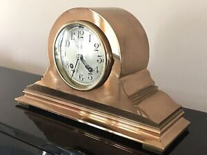 1924 CHELSEA SHIP'S BELL ANTIQUE BRONZE BRASS CLOCK UDALL & BALLOU WORKS