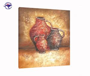 Three Brown Jars Beautiful Oil Painting on Canvas Abstract Modern Art Still Life