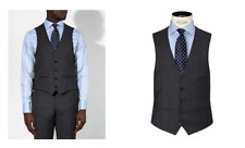John Lewis Grey Super 100s Wool Glen Check Waistcoat UK Size - 48R BNWT £60