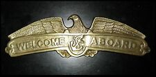 "Antiqued Brass Welcome Aboard Nautical Plaque w Eagle & Anchor ~ Big 16"" Long"