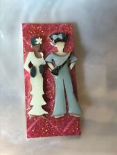 Women Friends in Cream & Gray Pin Designs by Lucinda Two Sisters Mixed Race