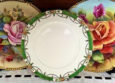 VINTAGE ALFRED MEAKIN ENGLAND GREEN, GOLD & FLORAL BORDER DINNER PLATE C1930+