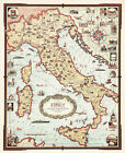 1935 Decorative Pictorial Map of Italy Wall Art Poster Print Decor Artwork