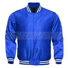 Varsity Baseball Letterman College Bomber Jacket Supreme Quality Blue Satin