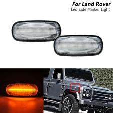 Clear Led Side Marker Lights For Land Rover Defender Discovery 2 LR2 Freelander