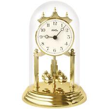 AMS 1201 Tischuhr mit Drehpendel Jahresuhr Drehpendeluhr Messing Optik golden.