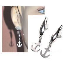 Boucles d'oreilles acier inoxydable dormeuses ancre marine bijou earring