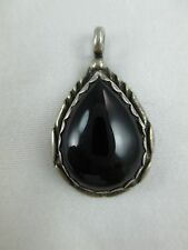Vintage Navajo Onyx Sterling Silver Pendant SIGNED RB Ruth Ann Begay? 317B
