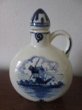 vintage HOLLAND small CARAFE BOTTLE Blue delpht-style Porcelain WINDMILL P Hoppe