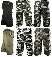 Mens 3/4 Summer Shorts Elasticated Waist Cargo Combat Three Quarter Holiday Camo