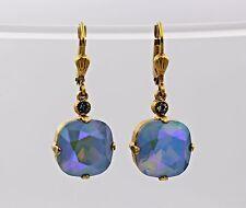 Genuine Catherine Popesco Gold Dangle Earrings Large Swarovski Crystal 6193