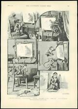 1889 Antique Print MONKEY PAINTING ARTIST EASLE CANVAS ART (199)