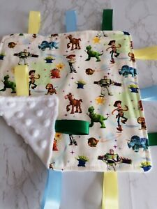 Taggy Blanket, snuggle blanket, baby taggy. Toy story. Handmade