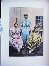 TUNISIE:Gravure 19°in folio couleur/ Femmes Tunisiennes (costumes modernes)
