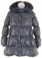 BENETTON Girls Padded Jacket 8-9 Years Large Blue Polyester  GB12