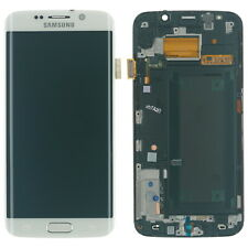 ORIGINALE Samsung s6 Edge sm-g925f display LCD TOUCH SCREEN VETRO BIANCO