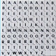 100 WHITE SCRABBLE TILES BLACK LETTERS & NUMBERS FOR CRAFTS - UK SELLER PLASTIC