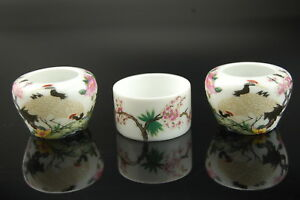 Porcelain Bird Feeders Seed/Water Cups for Chinese Bird Cage Crane Design