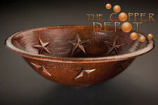 COPPER OVAL DROP-IN HAMMERED STAR DESIGN BATHROOM SINK
