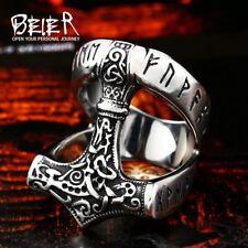 Punk Top Quality Stainless Steel Biker Ring For Men Viking Celtic Hammer Pattern
