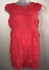 Top Shop Womens Ruffle Tiered Coral Shift Dress Size 16