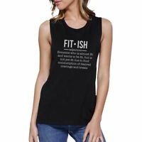 Fit-ish Womens Funny Work Out Muscle Tank Top Muscle Shirt For Gym