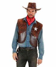 COWBOY WAISTCOAT VEST BROWN ADULT FANCY DRESS WESTERN