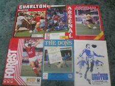 job lot football programmes arsenal/charlton/wimbledon/southend/nottingham fores