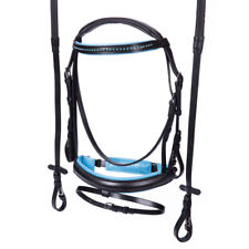 NEW SMALL PONY English Show Bridle with Reins Aqua Blue Bling Crystal Browband