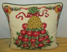 Colonial Williamsburg Christmas Needlepoint Pillow Pineapple Apple Fruit Tree