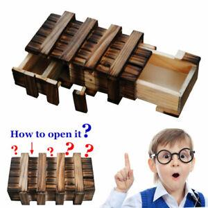 Wood Magic Secret Puzzle Box Brain Teaser IQ t-est Secret lock Smart Trick Gift
