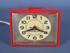 General Electric Vintage Pendule Électromécanique Réveil Rouge