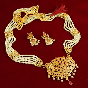 Indian Queen Necklace Earring Set Gold Plated Traditional Dangle Fashion Jewelry