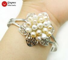 White & PInk Rice Natural Pearl Flower Silver Plate Open Cuff Bracelet Jewelry